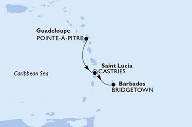 Guadeloupe, St Lucia, Barbados
